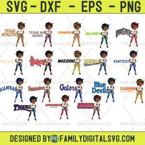 #Black Girl Bundle NCAA SVG, Afro Women SVG, Black Women Sport SVG, Sport NCAA SVG