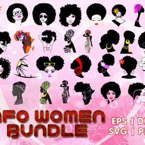 #Afro Woman 42 SVG Bundle, Afro Girl SVG, Afro Queen, Afro Woman Files for Cutting Machine