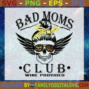 #Bad Moms Club Skull Bun SVG, Leopard Bandana SVG, Skull halloween SVG, mom halloween SVG