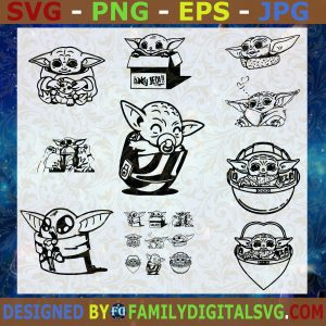 #Baby Yoda SVG Bundle, Star Wars SVG, Mandalorian SVG, Baby Yoda SVG DXF EPS PNG Cutting File for Cricut, Svg file Cutting Files Vectore Clip Art Download Instant