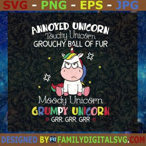 #Annoyed Unicorn Touchy Unicorn Grouchy Ball Of Fur Funny Gifts PNG File Download, Svg file Cutting Files Vectore Clip Art Download Instant
