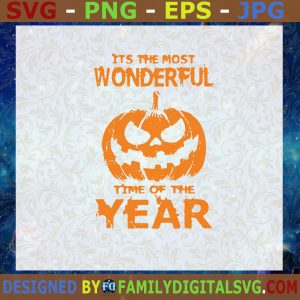 #It's The Most Wonderful Time Of The Year SVG, Halloween SVG, Pumpkin SVG Cut File, Instant Download, Silhouette, Vector, Clip Art
