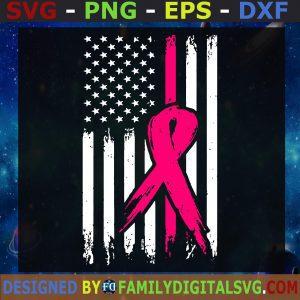 #Pink Ribbon USA Flag svg, Breast Cancer svg, Grunge Flag svg, Breast Cancer Awareness svg