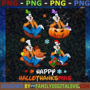 #Happy HalloThanksMas Walt Disney Vacation Goofy Halloween Thanksgiving Christmas SVG, PNG, EPS, DXF ,Silhouette , Cut Files For Cricut, Instant Download, Vector, Download Print File