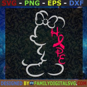 #Minnie Mouse SVG, Ribbon Breast Cancer SVG, cancer ribbon SVG, awareness pink SVG, Clip Art, Cutting file