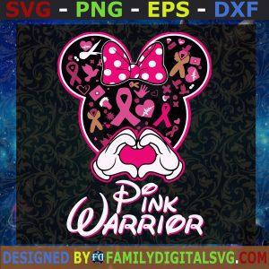 #Minnie Pink Warrior SVG, Minnie Mouse Cancer SVG, Cancer Awareness SVG