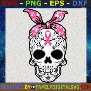 #Skull Bandana Cancer SVG, Skull Cancer Awareness PNG, Skull Pink Ribbon PNG