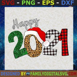 # Happy 2021 Happy New Year Buffalo Plaid Leopard Christmas SVG, PNG, EPS, DXF ,Silhouette, Digital Files, Cut Files For Cricut, Instant Download, Vector, Download Print Files