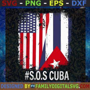 Half American Cuban Flag Svg, Sos Cuba Svg, Cuba Flag Svg, Happy Inden
