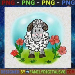 Watercolor Sheep With Pink Flowers png- Instant download-Sublimation graphics-PNG-Waterslide Printable-Clip Art