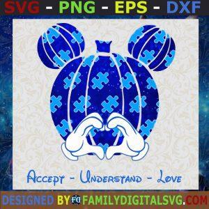 #Mickey Pumpkin Blue SVG, Mickey Cancer Awareness SVG, Autism Awareness SVG, Accept Understand Love SVG