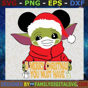 #Baby Yoda A Merry Christmas You Must Have SVG, Baby Alien SVG, Yoda Christmas SVG, Santa Yoda SVG