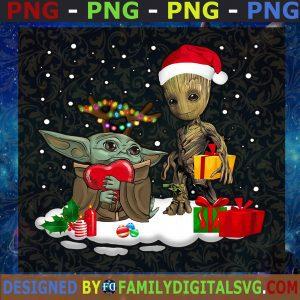 #Baby Yoda Santa And Baby Groot Christmas PNG, Yoda Lover Christmas PNG, Star Wars Lover PNG