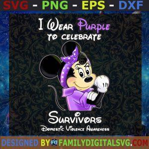 #I Wear Purple To Celebrate Surviors, Minnie Cancer SVG, Domestic Violence Awareness SVG