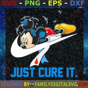 #Just Cure It Mickey SVG, Mickey Nike Cancer SVG, Mickey Cacner Awareness SVG, Mickey Mouse SVG